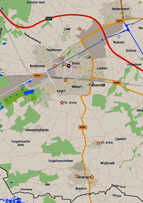 De locaties van de windmolens en rosmolen in Weert