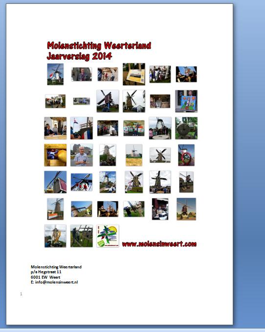 Jaarverslag 2014 Molenstichting Weerterland