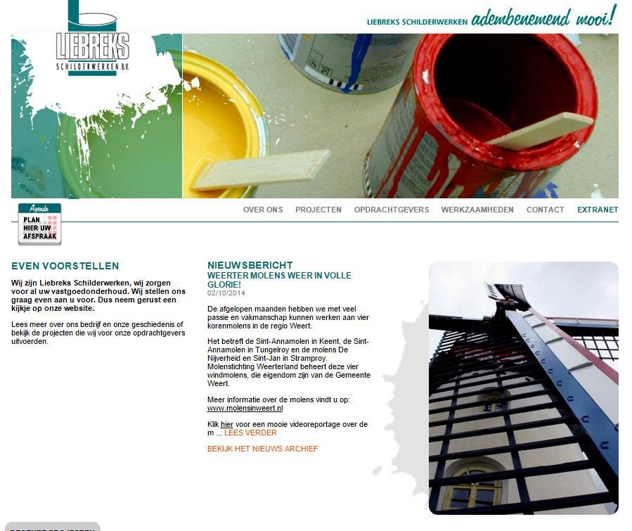 Verwijzing naar onze molens op de website van Liebreks Schilderwerken