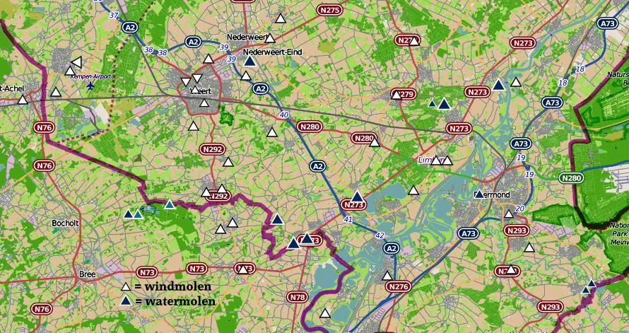 De windmolens en watermolens in het Weerterland en de rest van Midden-Limburg