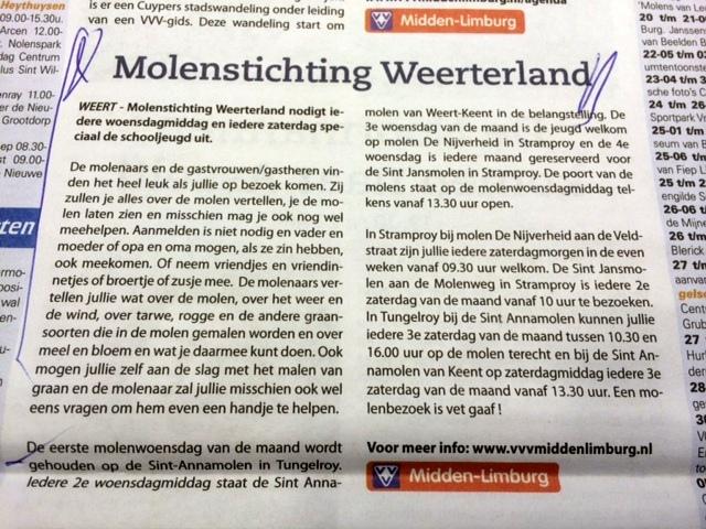 Molens in het VVV Magazine voor Noord en Midden Limburg
