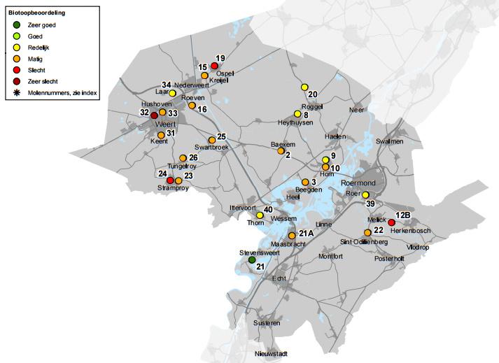 De molenbiotoopkaart van Midden Limburg
