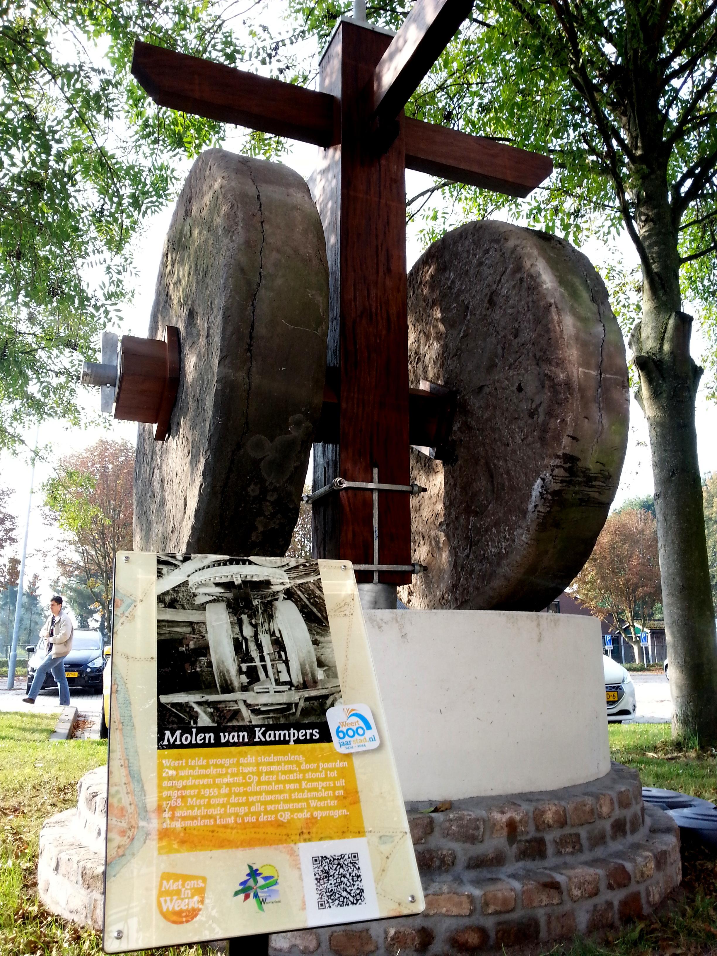 Reconstructie met de originele stenen van de kollergang van de ros-oliemolen