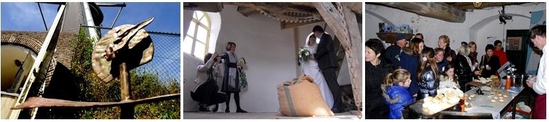 Beeldende kunst, huwelijksfoto en bakdemonstratie op de molen