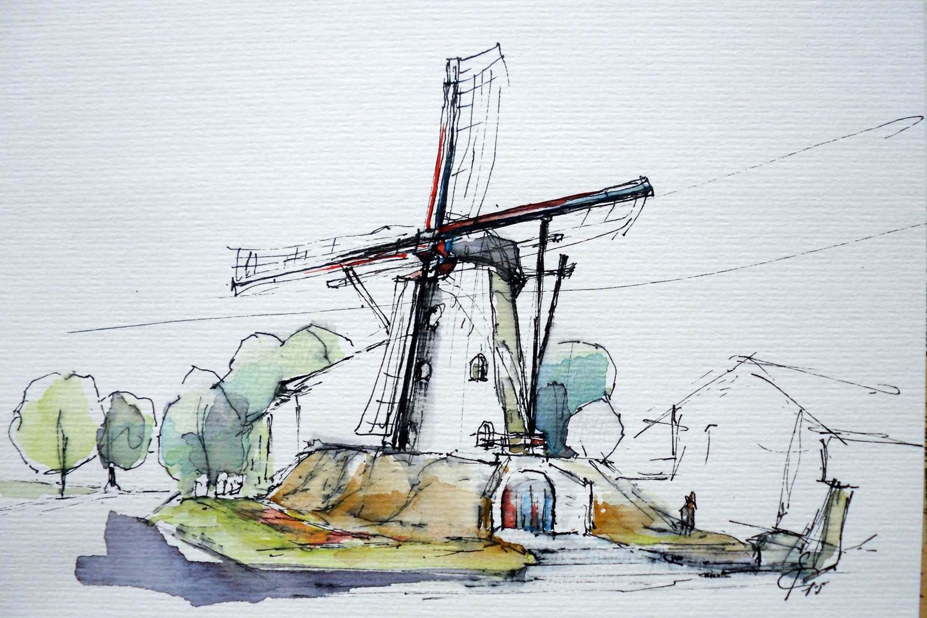 Jan Croonen: schets van de Sint Annamolen Keent